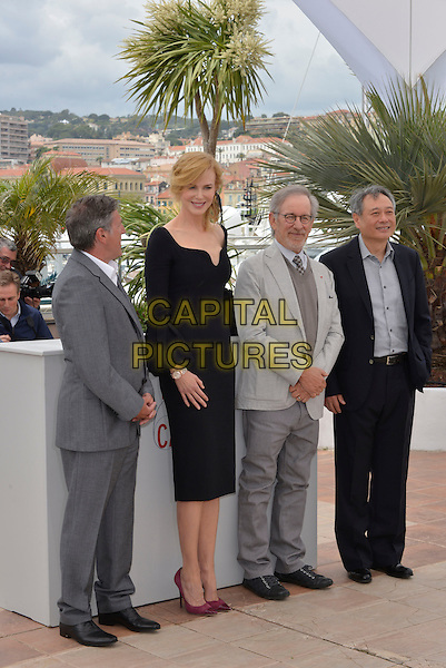 Daniel Auteuil, Nicole Kidman, Steven Spielberg, Ang Lee.Members of The Jury photocall - 66th International Cannes Film Festival, France 15th May 2013.full length gray grey suit  beard facial hair sweater jumper glasses black dress purple pink shoes.CAP/PL.©Phil Loftus/Capital Pictures.