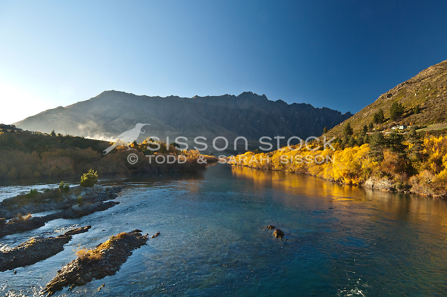 The Remarkables seen from Kawarau Falls in Autumn, Queenstown, South Island, New Zealand