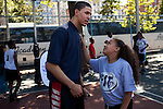 {June 27, 2012} {4:00pm} -- New York, NY, U.S.A.Duke basketball star Austin Rivers talks with Chayanne Kelly, 10, from Harlem at the Dunlevy Milbank Boys &amp; Girls Club before the NBA draft Thursday in Manhattan, New York on June 27, 2012. .