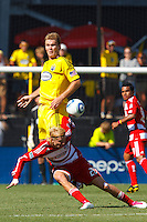 28 AUGUST 2010:  Chad Marshall of the Columbus Crew (14) and FC Dallas' Brek Shea (20) during MLS soccer game between FC Dallas vs Columbus Crew at Crew Stadium in Columbus, Ohio on August 28, 2010.