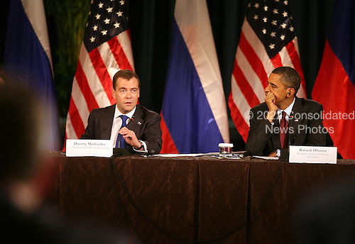 United States President Barack Obama and President Dmitry Medvedev of the Russian Federation participate in a business summit at the U.S. Chamber of Commerce during the Russian president's visit to Washington, DC, Thursday, June 24, 2010..Credit: Martin H. Simon - Pool via CNP