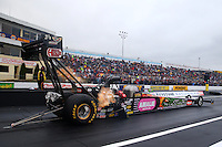 Oct 3, 2015; Mohnton, PA, USA; NHRA top fuel driver Terry McMillen during qualifying for the Keystone Nationals at Maple Grove Raceway. Mandatory Credit: Mark J. Rebilas-USA TODAY Sports