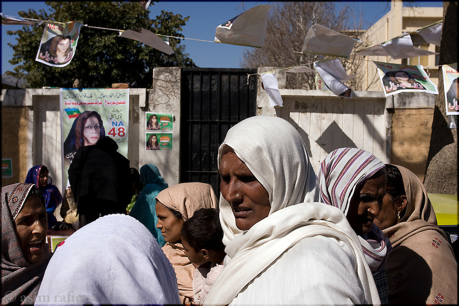 women come out to place their votes on February 18th 2008 - the election changed the face of Pakistani politics, eliminating the Islamists as a political force and placing the dictatorship of General Musharraf in a weakened position