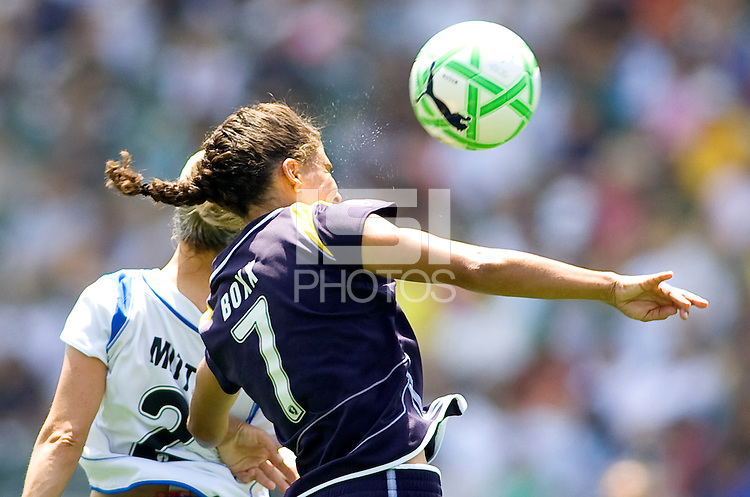 LA Sol's Shannon Boxx heads a ball past Boston Breakers Heather Mitts. The Boston Breakers and LA Sol played to a 0-0 draw at Home Depot Center stadium in Carson, California on Sunday May 10, 2009.   .