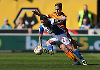 Blackburn Rovers' Danny Guthrie is tackled by Wolverhampton Wanderers' David Edwards<br /> <br /> Photographer Rachel Holborn/CameraSport<br /> <br /> The EFL Sky Bet Championship - Wolverhampton Wanderers v Blackburn Rovers - Saturday 22nd April 2017 - Molineux - Wolverhampton<br /> <br /> World Copyright &copy; 2017 CameraSport. All rights reserved. 43 Linden Ave. Countesthorpe. Leicester. England. LE8 5PG - Tel: +44 (0) 116 277 4147 - admin@camerasport.com - www.camerasport.com