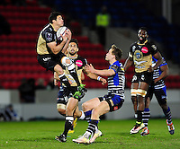 Anthony Floch of Montpellier claims the ball in the air. European Rugby Challenge Cup quarter final, between Sale Sharks and Montpellier on April 8, 2016 at the AJ Bell Stadium in Manchester, England. Photo by: Patrick Khachfe / JMP