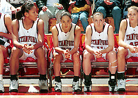 Bethany Donaphin, Milena Flores, and Jamie Carey during the 1999-2000 women's basketball season at Maples Pavilion in Stanford, CA.