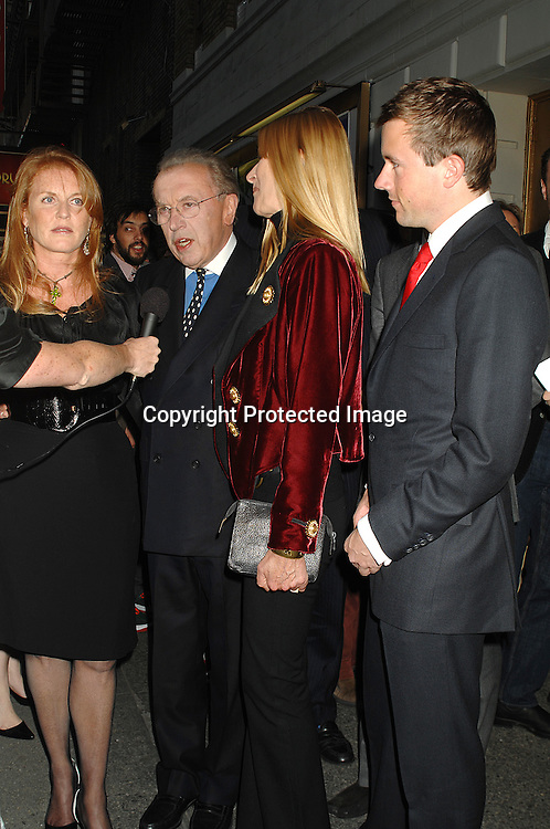 "Sarah Ferguson, Sir David Frost and wife Lady Carina and son Miles..arriving for The Broadway Opening Night of ""Frost/Nixon""..on April 22, 2007 at The Bernard B Jacobs Theatre. ..Robin Platzer, Twin Images"
