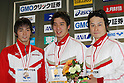 (L to R) .Hisayoshi Sato, .Takuro Fujii, .Ryo Takayasu, .FEBRUARY 11, 2012 - Swimming : .The 53rd Japan Swimming Championships (25m) .Men's 100m Individual Medley Victory Ceremony .at Tatsumi International Swimming Pool, Tokyo, Japan. .(Photo by YUTAKA/AFLO SPORT) [1040]
