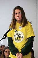 NO FEE PICTURES.8/3/12 Aisling Minogue, St Raphaela's, Stillorgan, taking part in the Dublin County final, part of the overall Eason 2012 Spelling Bee, held at St Olaf's NS, Dundrum. .For further details visit www.easons.com/spellingbee and stay tuned to RTE 2fm. Picture:Arthur Carron/Collins