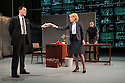 London, UK. 08.12.2015. Hampstead Theatre presents HAPGOOD, by Tom Stoppard, directed by Howard Davies. Picture shows: Tim McMullan (Blair), Lisa Dillon (Hapgood), Gerald Kyd (Ridley). Photograph © Jane Hobson.