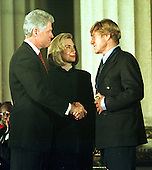 Robert Redford receives the National Medal of Arts from United States President Bill Clinton and first lady Hillary Rodham Clinton in the Andrew W. Mellon Auditorium in Washington, D.C. on January 9, 1997..Credit: Ron Sachs / CNP