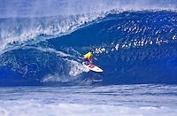 DAMIEN HARDMAN (AUSTRALIA)  circa 1991 surfing Pipeline, North Shore, Hawaii. Photo: Joli
