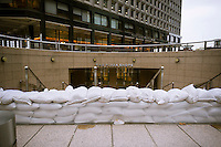"Shopping arcade in One New York Plaza in the Zone A evacuation zone is sandbagged prior to Hurricane Sandy, in New York on Sunday, October 28, 2012. In advance of the arrival of Hurricane Sandy New York will shut down the subways at 7 PM on Sunday and evacuate low lying ""Zone A"" areas including Battery Park City. In addition the schools will be closed on Monday. (© Richard B. Levine)"