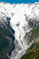 Aerial views of Franz Josef Glacier tongue and its valley, Westland National Park, Westland National Park, South Westland, West Coast, South Island, World Heritage Area, New Zealand