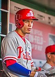23 May 2015: Philadelphia Phillies infielder Cesar Hernandez stands ready to bat in the dugout during a game against the Washington Nationals at Nationals Park in Washington, DC. The Phillies defeated the Nationals 8-1 in the second game of their 3-game weekend series. Mandatory Credit: Ed Wolfstein Photo *** RAW (NEF) Image File Available ***