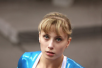 Sept 2, 2007; Stuttgart, Germany; Elena Zamolodchikova of Russia...portrait during women's artistic gymnastics team competition at 2007 World Championships. Elena helped Russia to place fourth in team. Photo by Tom Theobald. Copyright 2007 by Tom Theobald