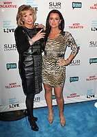 Kathy Hilton, Kyle Richards.Bravo's Andy Cohen's Book Release Party For &quot;Most Talkative: Stories From The Front Lines Of Pop Held at SUR Lounge, West Hollywood, California, USA..May 14th, 2012.full length black  leather dress tiger animal print dress hand on hip beige .CAP/ADM/KB.&copy;Kevan Brooks/AdMedia/Capital Pictures.