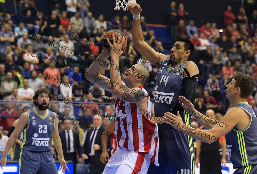 Kosarka Euroleague season 2015-2016<br /> Euroleague <br /> Crvena Zvezda v Real Madrid<br /> Maik Zirbes (C) Gustavo Ayon (R) and Sergio Llull (L)<br /> Beograd, 27.11.2015.<br /> foto: Srdjan Stevanovic/Starsportphoto &copy;