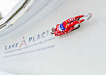 5 December 2014:  Ludwig Rieder and Patrick Rastner, sliding for Italy, bank into Curve 10 on their second run, ending the day with a 10th place finish and a combined 2-run time of 1:28.693 in the Men's Doubles Competition at the Viessmann Luge World Cup, at the Olympic Sports Track in Lake Placid, New York, USA. Mandatory Credit: Ed Wolfstein Photo *** RAW (NEF) Image File Available ***