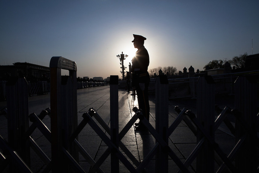 A Chinese army in front of Forbidden City, Beijing.
