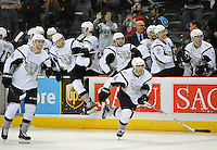 San Antonio Rampage players leave the bench after winning an AHL hockey game against the Utica Comets, Monday, Jan. 13, 2014, in San Antonio. San Antonio won 3-2 in a shootout. (Darren Abate/AHL)