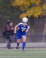 Hofstra University midfielder Danielle Murino (22) heads the ball. Boston College defeated Hofstra University, 3-1, in second round NCAA tournament match at Newton Soccer Field, Newton, MA.