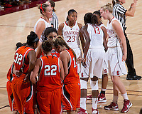 STANFORD, CA - December 15, 2012: Stanford Cardinal's Chiney Ogwumike talks to Jasmine Camp during Stanford's 78-43 victory over Pacific at Maples Pavilion in Stanford, California.