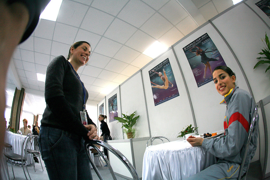 """(L) Esther Tiejiera of Spain shares light moment with (R) Ines Gomes of Portugal at 2007 World Cup Kiev, """"Deriugina Cup"""" in Kiev, Ukraine on March 16, 2007."""