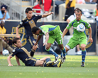 Stefani Miglioranzi #6 of the Philadelphia Union sends the ball past James Riley #7 of the Seattle Sounders FC during the first MLS match at PPL stadium in Chester, PA. on June 27 2010. Union won 3-1.