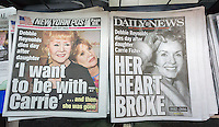 Front pages and headlines of the New York tabloid newspapers on Thursday, December 29, 2016 report on the previous days' death of actress Debbie Reynolds one day after the death of her daughter, Carrie Fisher. (© Richard B. Levine)