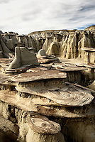 Sandstone formations and hoodoos in a small side wash at Ah Shi Sle Pah Wash in New Mexico's San Juan Basin.