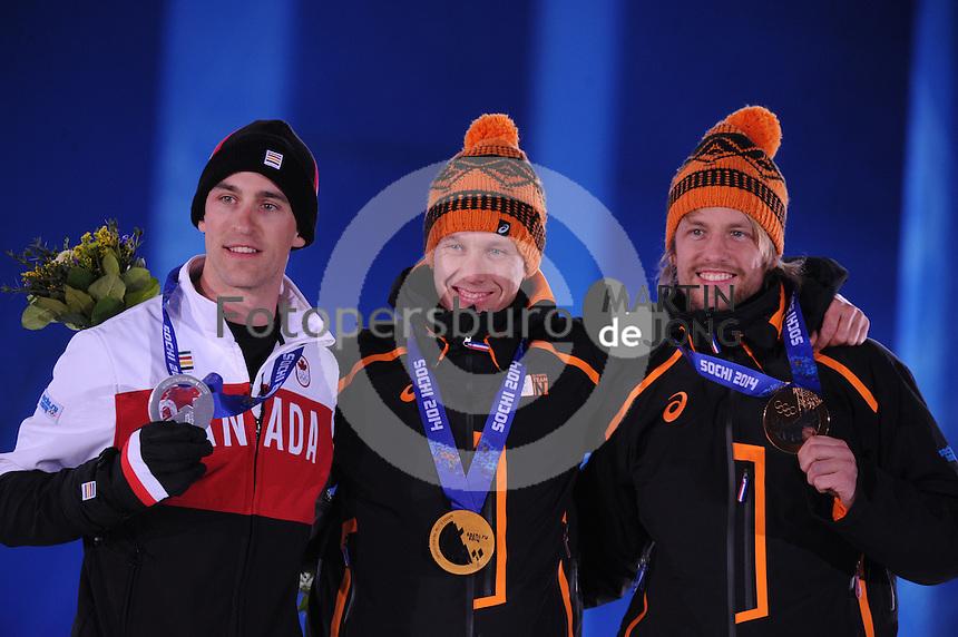 OLYMPICS: SOCHI: Medal Plaza, 13-02-2014, medaille uitreiking, 1000m Men, Denny Morrison (CAN), Stefan Groothuis (NED), Michel Mulder (NED), ©foto Martin de Jong