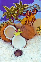 Still life of Manoi, Tahitian coconut oil, with coconut shells & shavings
