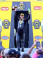 Mar 19, 2017; Gainesville , FL, USA; NHRA pro stock motorcycle rider Eddie Krawiec celebrates after winning the Gatornationals at Gainesville Raceway. Mandatory Credit: Mark J. Rebilas-USA TODAY Sports