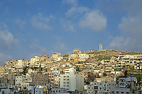 Cityscape and the citadel of the Roman theatre on a hillside, Amman, Jordan.