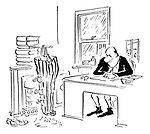 (A businessman dries his trousers in front of an open fire)