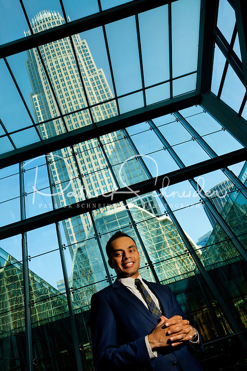Manoj Govindan  with Bank of America Merrill Lynch  Technology Innovation Portfolio, in the lobby area of 1 Bank of America Center, in Charlotte, NC.