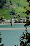 Tower in the lake. Lake Resia, Italian/ Austrian border.