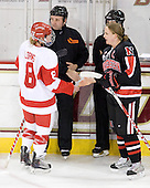 Holly Lorms (BU - 8), Bob Ward, Julia Marty (NU - 16) - The Northeastern University Huskies tied Boston University Terriers 3-3 in the 2011 Beanpot consolation game on Tuesday, February 15, 2011, at Conte Forum in Chestnut Hill, Massachusetts.