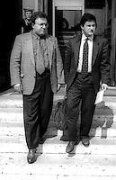 Roma 1995.Francesco Storace e Gianni Alemanno all' uscita del Parlamento
