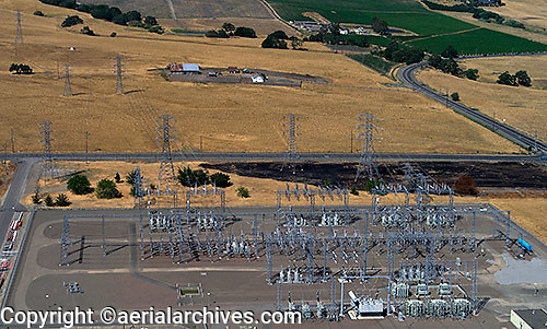 aerial photograph PG&E electrical sub-station Petaluma, Sonoma county, California