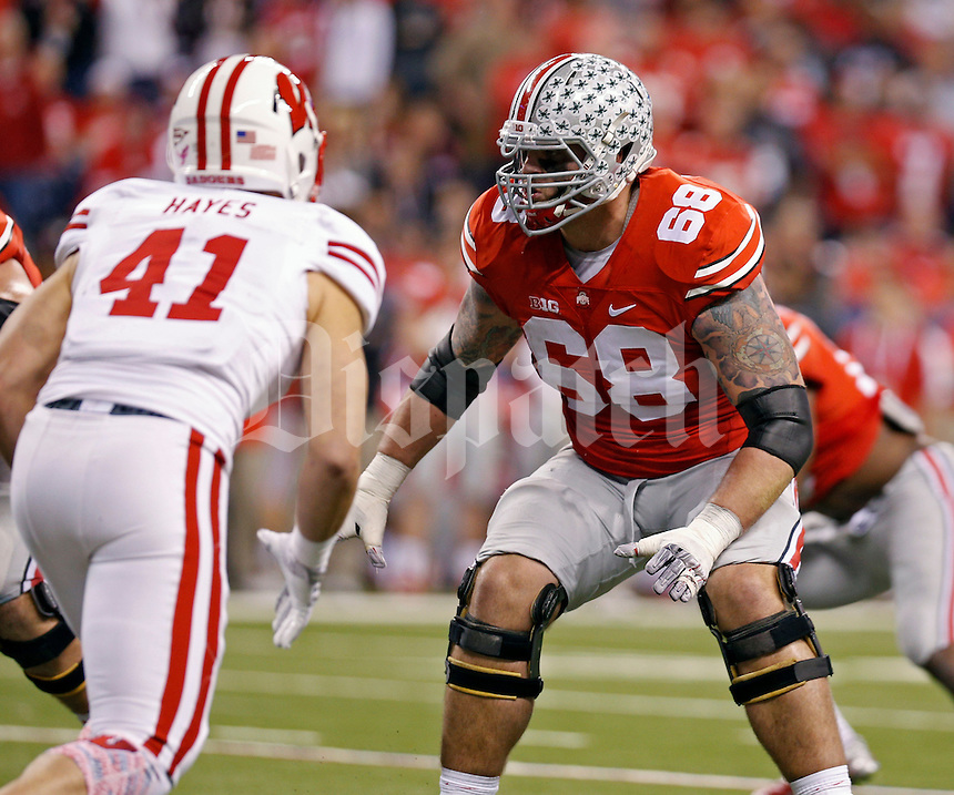 Ohio State Buckeyes offensive lineman Taylor Decker (68) against Wisconsin Badgers in the 2014 Big Ten Football Championship Game at Lucas Oil Stadium in Indianapolis, Ind. on December 6, 2014.  (Dispatch photo by Kyle Robertson)
