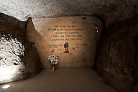 Commemoration for the 72th anniversary of the massacre  Fosse Ardeatine, made in Rome by the occupation troops of Nazi Germany, the  March 24, 1944, were killed, 335 civilians and Italian soldiers. Pictured: The cave of massacre. Rome Italy. March 23, 2016.