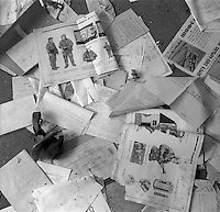 Chernobyl, Ukraine, Ocober 1995..The explosion at the Chernobyl Nuclear Power Plant on April 26 1986 was the worst nuclear accident in history..Radiation emergency leaflets litter an abandoned local administrative office.