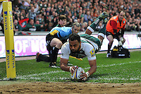 Telusa Veainu of Leicester Tigers dives for the try-line. Aviva Premiership match, between Leicester Tigers and Wasps on November 1, 2015 at Welford Road in Leicester, England. Photo by: Patrick Khachfe / Onside Images