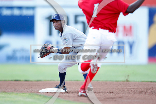 August 11, 2009:  Second Baseman Francisco Soriano of the Vermont Lake Monsters attempts to turn a double play as Michael Swinson slides in during a game at Dwyer Stadium in Batavia, NY.  The Lake Monsters are the Short-Season Class-A affiliate of the Washington Nationals.  Photo By Mike Janes/Four Seam Images