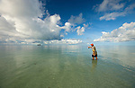 Man flyfishing at South Water Caye, Stann Creek District, Belize