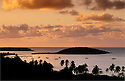 View of boats in bay at Esperanza and Cayo Tierra from Hacienda Tamarindo at sunrise; Vieques Island, Puerto Rico.