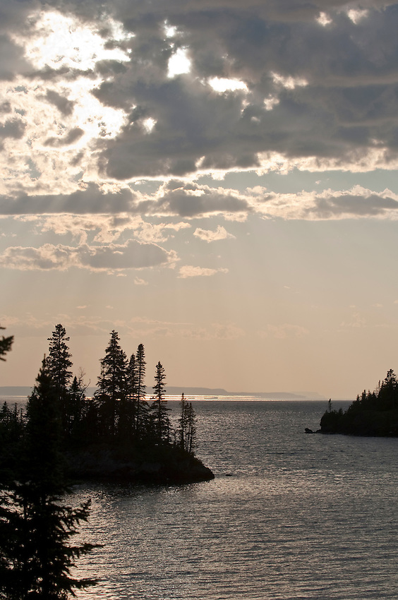 Sunset on a small bay at Isle Royale National Park.